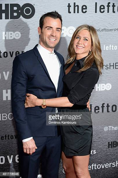 Actors Justin Theroux and Jennifer Aniston attend The Leftovers premiere at NYU Skirball Center on June 23 2014 in New York City