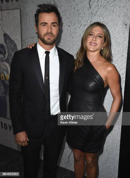 Actors Justin Theroux and Jennifer Aniston attend the premiere of HBO's 'The Leftovers' Season 3 at Avalon Hollywood on April 4 2017 in Los Angeles...