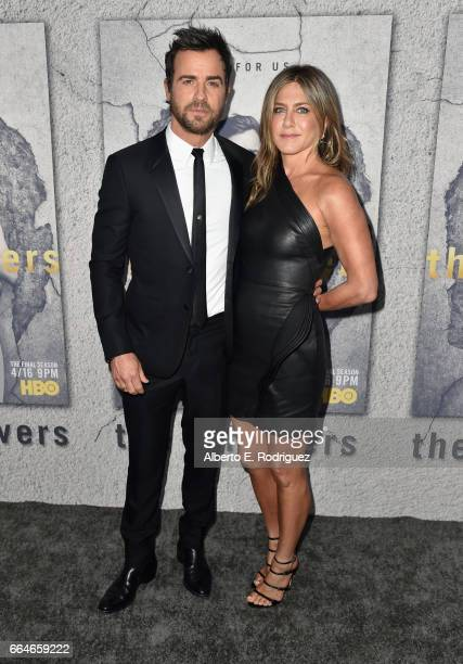 Actors Justin Theroux and Jennifer Aniston attend the premiere of HBO's The Leftovers Season 3 at Avalon Hollywood on April 4 2017 in Los Angeles...