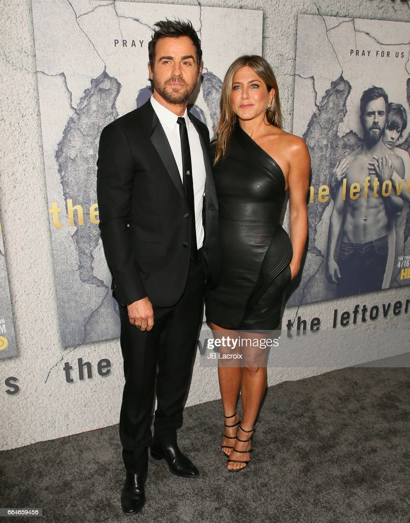 Actors Justin Theroux and Jennifer Aniston attend the premiere of HBO's 'The Leftovers' Season 3 at Avalon Hollywood on April 4, 2017 in Los Angeles, California.