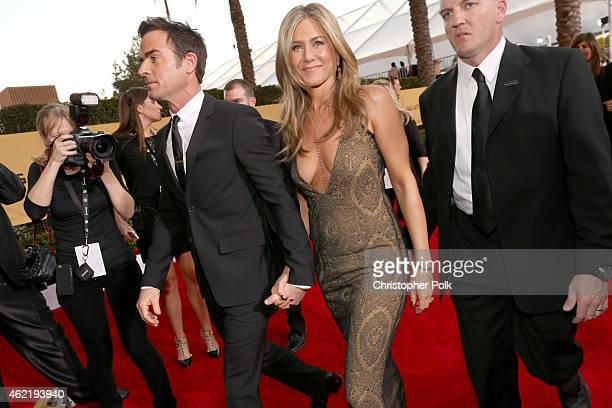 Actors Justin Theroux and Jennifer Aniston attend TNT's 21st Annual Screen Actors Guild Awards at The Shrine Auditorium on January 25 2015 in Los...