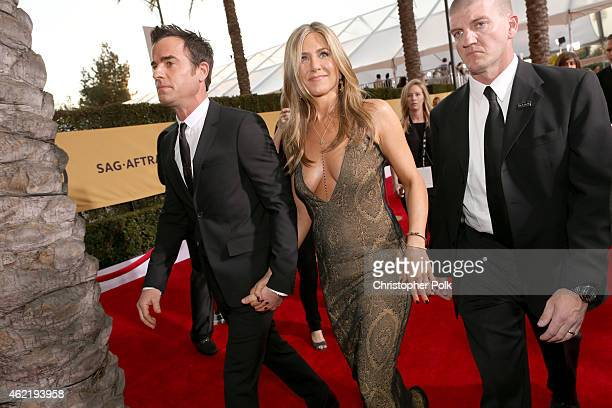 Actors Justin Theroux and Jennifer Aniston attend TNT's 21st Annual Screen Actors Guild Awards at The Shrine Auditorium on January 25, 2015 in Los...