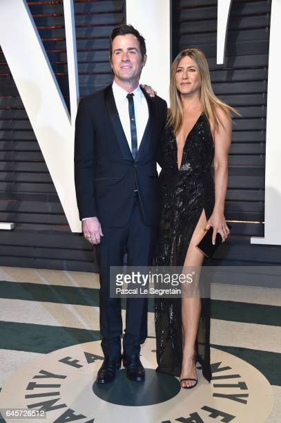 Actors Justin Theroux and Jennifer Aniston attends the 2017 Vanity Fair Oscar Party hosted by Graydon Carter at Wallis Annenberg Center for the...