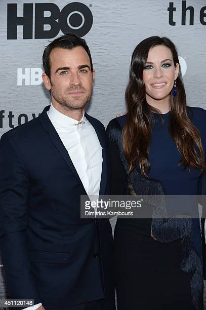 Actors Justin Theroux and Liv Tyler attend The Leftovers premiere at NYU Skirball Center on June 23 2014 in New York City