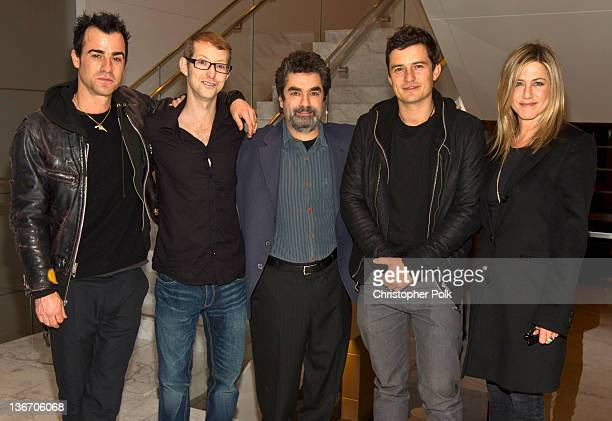 Actors Justin Theroux Jason Baldwin director Joe Berlinger actor Orlando Bloom and actress Jennifer Aniston attend the screening of HBO's 'Paradise...