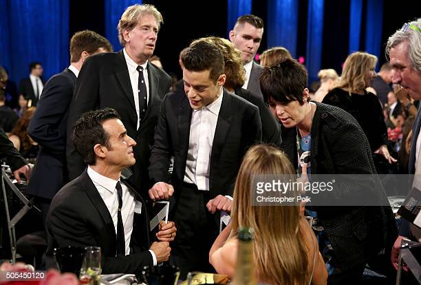 Actors Justin Theroux Rami Malek Jennifer Aniston and songwriter Diane Warren attend the 21st Annual Critics' Choice Awards at Barker Hangar on...