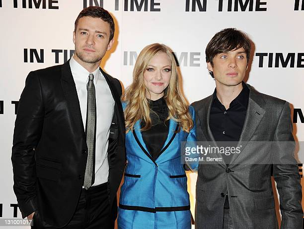Actors Justin Timberlake Amanda Seyfried and Cillian Murphy attend the UK Premiere of 'In Time' at the Curzon Mayfair on October 31 2011 in London...