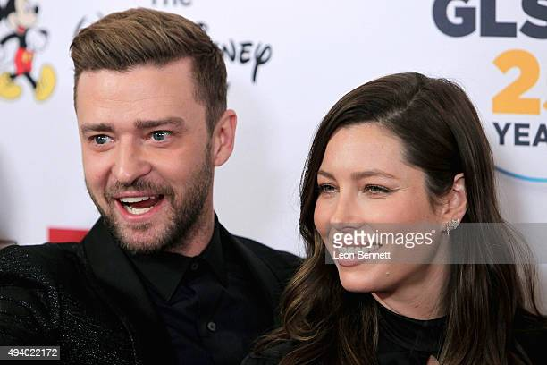 Actors Justin Timberlake and Jessica Biel arrives at the 2015 GLSEN Respect Awards Arrivals at the Beverly Wilshire Four Seasons Hotel on October 23...