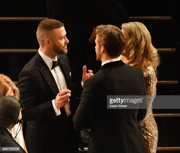 Actors Justin Timberlake and Ryan Gosling in the audience during the 89th Annual Academy Awards at Hollywood & Highland Center on February 26, 2017...
