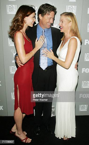 Actors Justine Eyre, John Allen Nelson and Penelope Ann Miller arrive at the 20th Century Fox Television and FOX Broadcasting Company 2006 Emmy party...