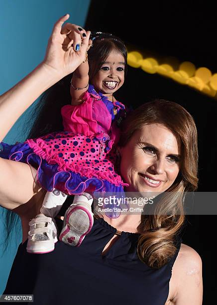 Actors Jyoti Amge and Erika Ervin arrive at the Los Angeles premiere of 'American Horror Story Freak Show' at TCL Chinese Theatre IMAX on October 5...