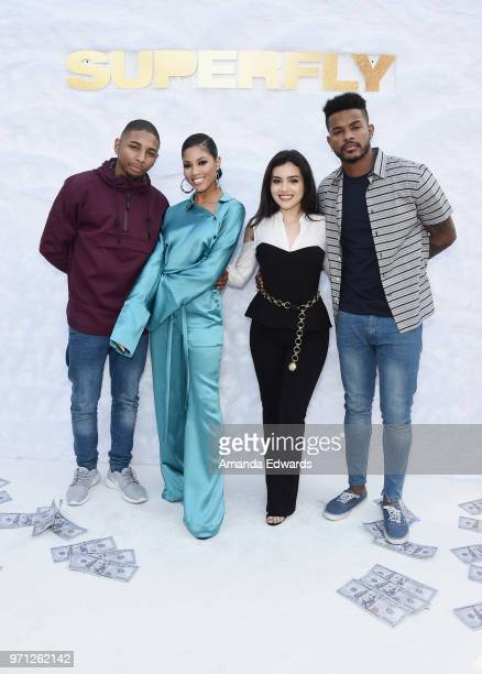 Actors Kaalan 'KR' Walker Lex Scott Davis Andrea Londo and Trevor Jackson arrive at a special screening of 'SuperFly' hosted by Sony Pictures...