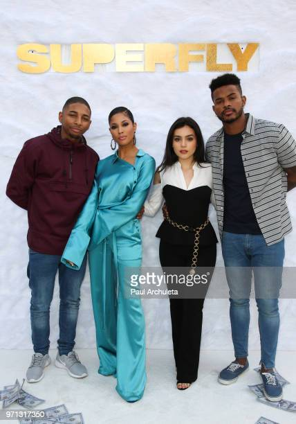 Actors Kaalan 'KR' Walker Lex Scott Davis Andrea Londo and Trevor Jackson attend the special screening of Sony Pictures Entertainment 'Superfly' at...