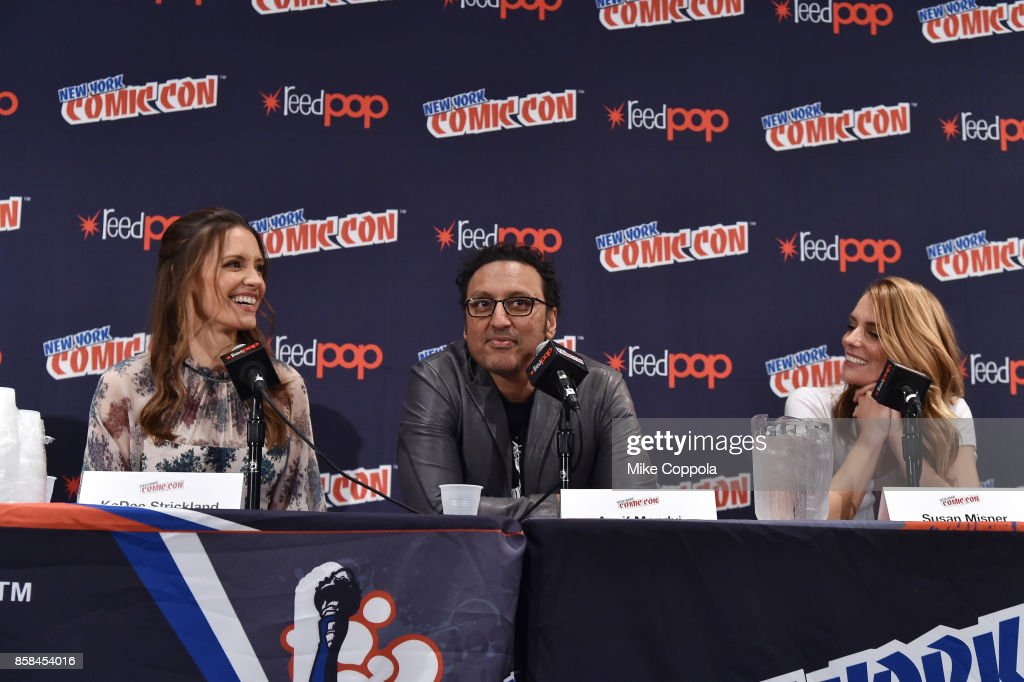 Actors KaDee Strickland, Aasif Mandvi, and Susan Misner participate in Hulu's Shut Eye panel at New York Comic Con at Jacob Javits Center on October 6, 2017 in New York City.