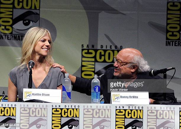"""Actors Kaitlin Olson and Danny DeVito speak onstage at the """"It's Always Sunny In Philadelphia"""" screening and Q&A during Comic-Con International 2013..."""