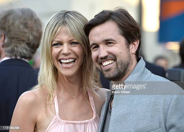 Actors Kaitlin Olson and Rob McElhenney arrive at the premiere of Warner Bros Pictures' and Legendary Pictures' 'Pacific Rim' at Dolby Theatre on...