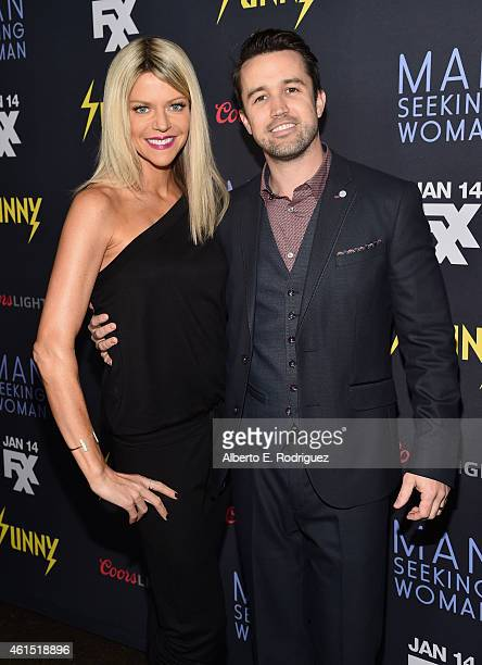 Actors Kaitlin Olson and Rob McElhenney arrive to the premiere of FXX's 'It's Always Sunny in Philadelphia' 10th Season and 'Man Seeking Woman' at...