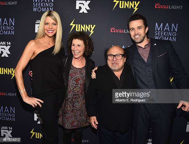 Actors Kaitlin Olson Rhea Perlman Danny DeVito and Rob McElhenney arrive to the premiere of FXX's 'It's Always Sunny in Philadelphia' 10th Season and...
