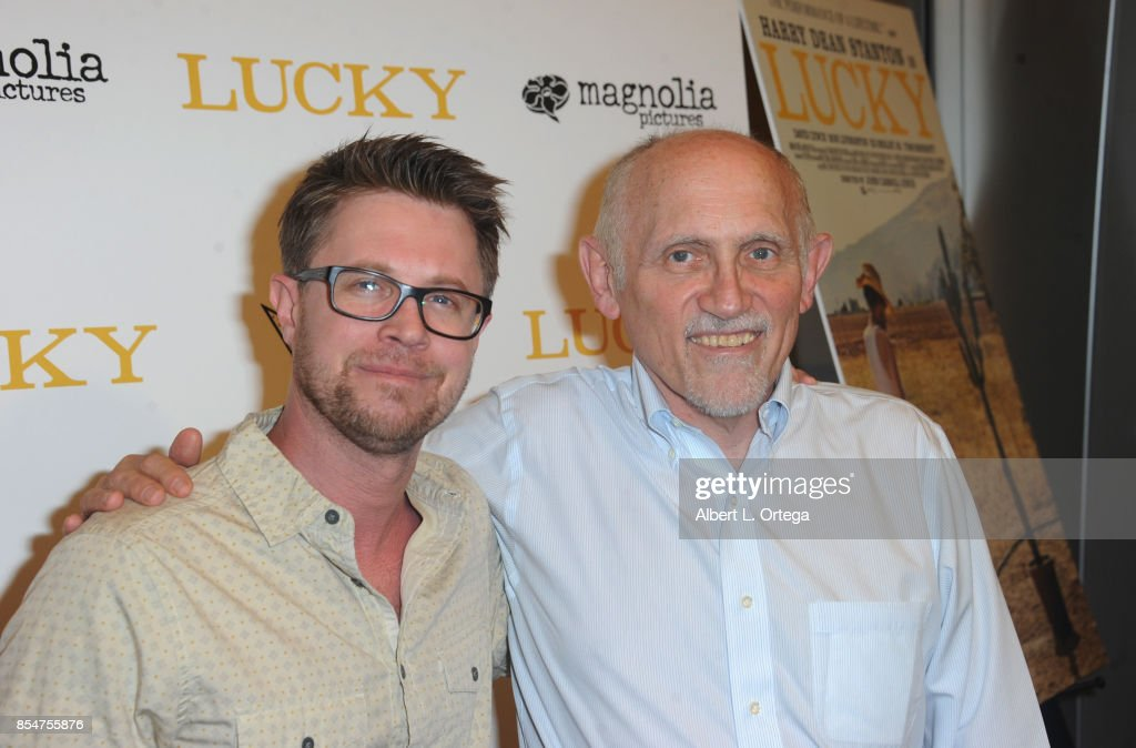 Actors Kaj-Erik Eriksen and Armin Shimmerman arrive for the Premiere Of Magnolia Pictures' 'Lucky' held at Linwood Dunn Theater on September 26, 2017 in Los Angeles, California.