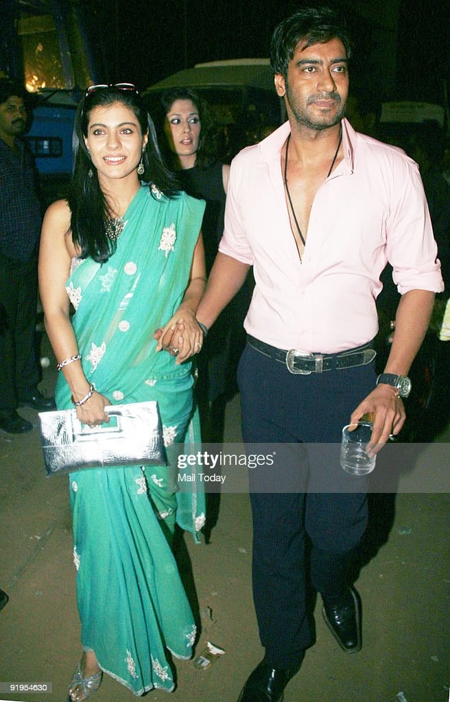 Actors Kajol and Ajay Devgan at the second day of the HDIL India Couture Week in Mumbai on Tuesday October 13 2009