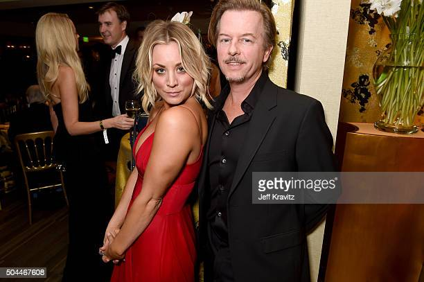 Actors Kaley Cuoco and David Spade attend HBO's Official Golden Globe Awards After Party at The Beverly Hilton Hotel on January 10 2016 in Beverly...