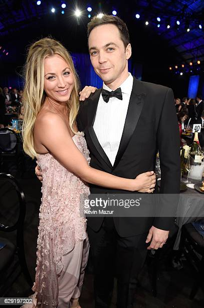 Actors Kaley Cuoco and Jim Parsons attend The 22nd Annual Critics' Choice Awards at Barker Hangar on December 11 2016 in Santa Monica California
