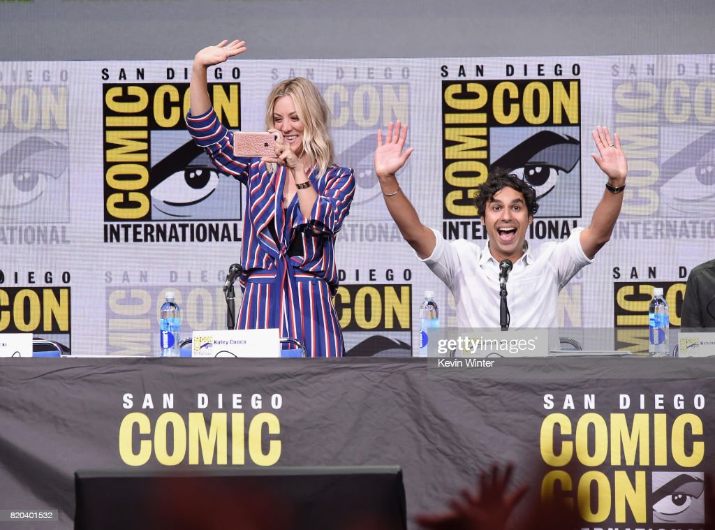 Actors Kaley Cuoco (L) and Kunal Nayyar speak onstage at the 'The Big Bang Theory' panel during Comic-Con International 2017 at San Diego Convention Center on July 21, 2017 in San Diego, California.