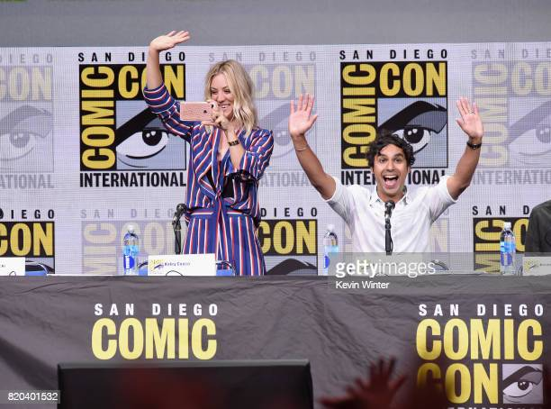 Actors Kaley Cuoco and Kunal Nayyar speak onstage at the 'The Big Bang Theory' panel during ComicCon International 2017 at San Diego Convention...