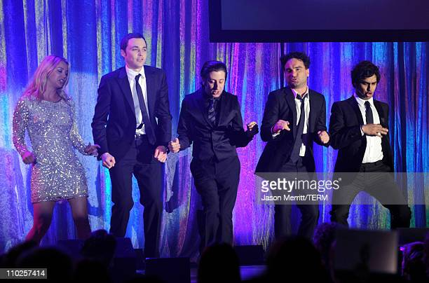 Actors Kaley Cuoco Jim Parsons Simon Helberg Johnny Galecki and Kunal Nayyar perform onstage at the 19th annual A Night At Sardi's fundraiser and...