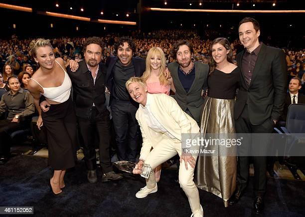 Actors Kaley Cuoco Johnny Galecki Kunal Nayyar Melissa Rauch Simon Helberg Mayim Bialik Jim Parsons and TV personality Ellen DeGeneres attend The...