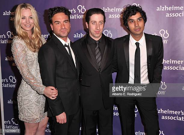 Actors Kaley Cuoco Johnny Galecki Simon Helberg and Kunal Nayyar arrive to the 19th Annual 'A Night at Sardi's' benefitting the Alzheimer's...