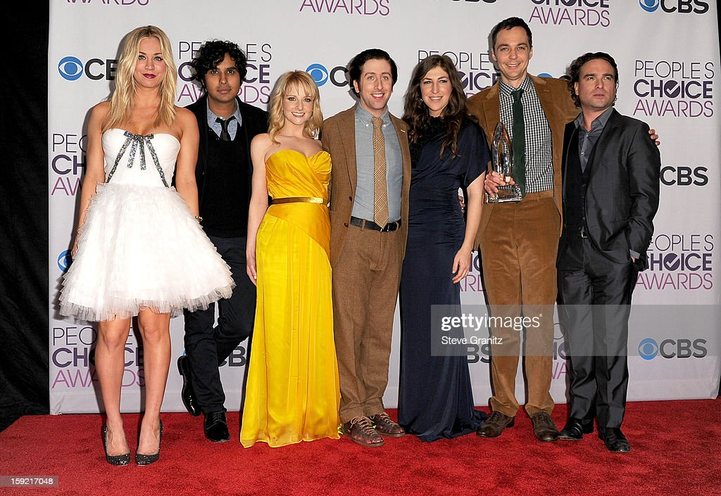Actors Kaley Cuoco, Kunal Nayyar, Melissa Rauch, Simon Helberg, Mayam Bialik, Jim Parsons and Johnny Galecki pose in the press room during the 2013 People's Choice Awards at Nokia Theatre L.A. Live on January 9, 2013 in Los Angeles, California.
