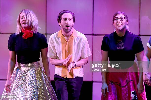 Actors Kaley Cuoco Simon Helberg and Mayim Bialik perform onstage during the 24th and final A Night at Sardi's to benefit the Alzheimer's Association...