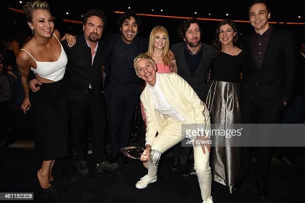 Actors Kaley CuocoSweeting Johnny Galecki Kunal Nayyar TV personality Ellen DeGeneres actors Melissa Rauch Simon Helberg Mayim Bialik and Jim Parsons...