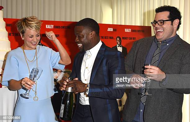 Actors Kaley CuocoSweeting Kevin Hart and Josh Gad attend Screen Gems' The Wedding Ringer Photo Call at SLS Hotel at Beverly Hills on January 6 2015...