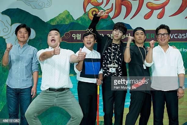 Actors Kang HoDong Lee SooGeun Lee SeungGi and Eun JiWon attend the tvN 'ShinSeoYuGi' press conference on September 1 2015 in Seoul South Korea The...
