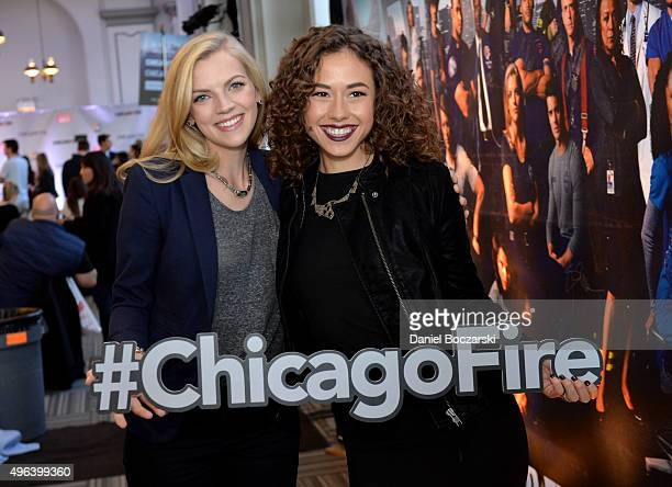 Actors Kara Kilmer and Dora Madison pose with a #ChicagoFire hashtag as they attend a press junket for NBC's 'Chicago Fire' 'Chicago PD' and 'Chicago...