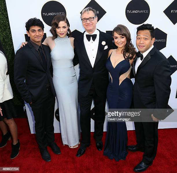 Actors Karan Soni and Conor Leslie director Paul Feig and actors Milana Vayntrub and Eugene Cordero attend the 2015 TV Land Awards at the Saban...