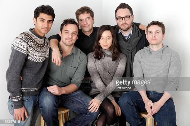 Actors Karan Soni Jake Johnson Mark Duplass Aubrey Plaza director Colin Trevorrow and writer Derek Connolly pose for a portrait during the 2012...