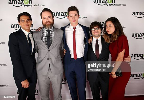 Actors Karan Soni Jonathan C Daly Joe Dinicol Charlie Saxton and Maya Erskine attend the Amazon Studios Launch Party to celebrate the premieres of...