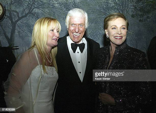 Actors Karen Dotrice Dick Van Dyke and Julie Andrews pose at the afterparty for Disney's Mary Poppins 40th Anniversary Edition DVD Launch party and...