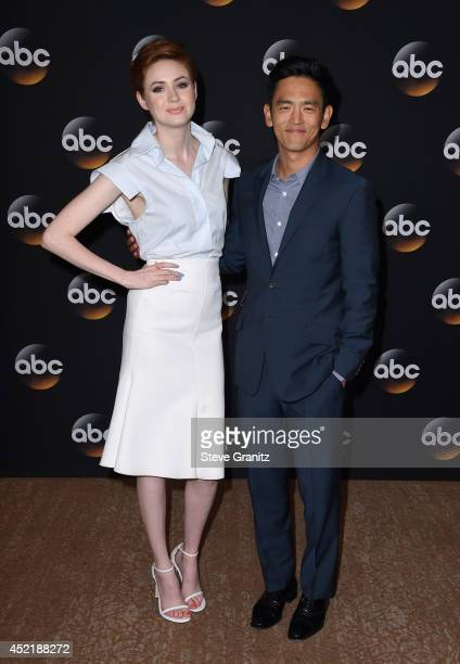Actors Karen Gillan and John Cho attend the Disney/ABC Television Group 2014 Television Critics Association Summer Press Tour at The Beverly Hilton...