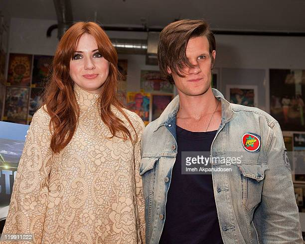 Actors Karen Gillan and Matt Smith arrive at a signing for the 'Doctor Who Series 6 Part One' DVD set at Amoeba Music on July 26 2011 in Hollywood...