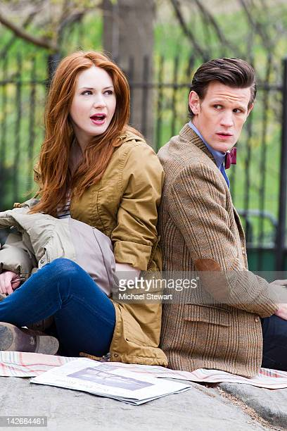 Actors Karen Gillan and Matt Smith filming on location for 'Doctor Who' in Central Park on April 11 2012 in New York City