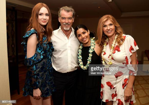 Actors Karen Gillan Pierce Brosnan Freida Pinto and Connie Britton attend day 2 of the 2017 Maui Film Festival at Wailea on June 22 2017 in Wailea...
