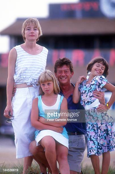 Actors Karen Young Cassie Barasch John Hurt and Ellie Raab on location filming the movie 'Little Sweetheart' in 1987 on St George Island in Florida