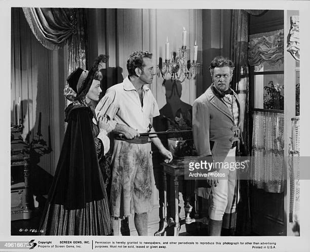 Actors Karin Booth and Paul Henreid in a scene from the movie 'The Last Buccaneers' 1950