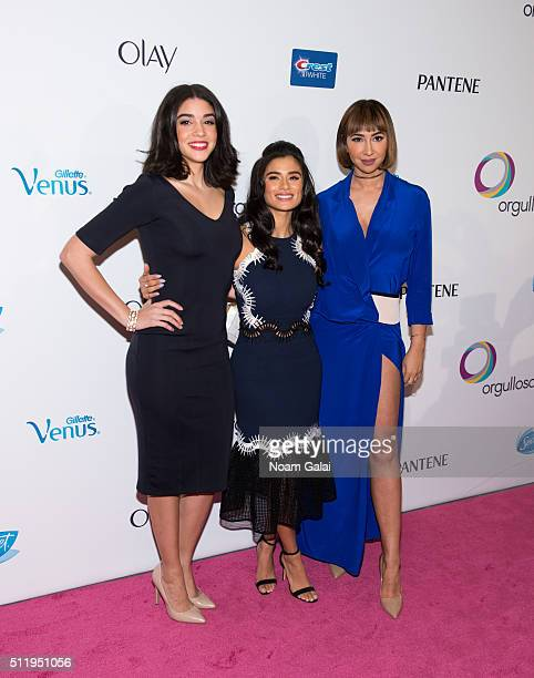 Actors Karina Ortiz Diane Guerrero and Jackie Cruz attend the Orgullosa #LivingFabulosa event at The Paley Center for Media on February 23 2016 in...