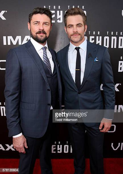 Actors Karl Urban and Chris Pine attend the premiere of Paramount Pictures' 'Star Trek Beyond' at Embarcadero Marina Park South on July 20 2016 in...