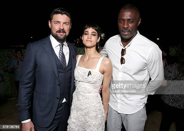 Actors Karl Urban Sofia Boutella and Idris Elba attend the premiere of Paramount Pictures' 'Star Trek Beyond' at Embarcadero Marina Park South on...